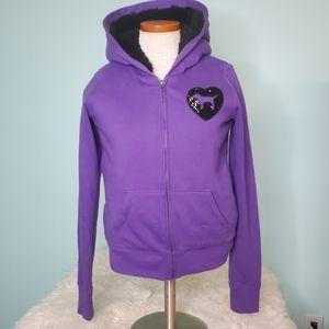 PINK Victoria's Secret LE sequin fur lined hoodie